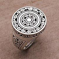 Sterling silver cocktail ring, 'Borobudur Muse' - Artisan Crafted Sterling Silver Signet Ring