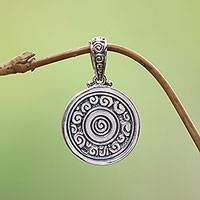 Sterling silver pendant, 'Borobudur Muse' - Fair Trade Sterling Silver Pendant