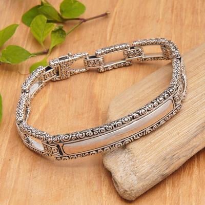 Men's sterling silver bracelet, 'Borobudur Warrior' - Men's Artisan Crafted Sterling Silver Link Bracelet