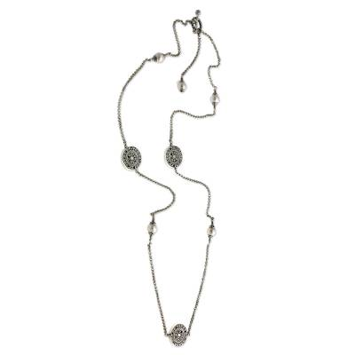 Cultured pearl long necklace, 'Borobudur Legacy' - Sterling Silver and Pearl Long Necklace