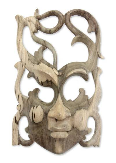 Wood mask, 'Woman of Nature' - Hibiscus Wood Wall Mask