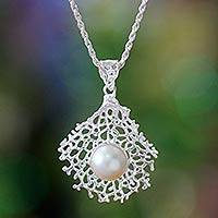 Pearl pendant necklace, 'White Coral' - Pearl pendant necklace