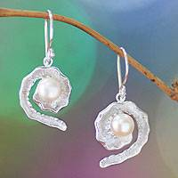 Pearl dangle earrings, 'White Passion Fruit'