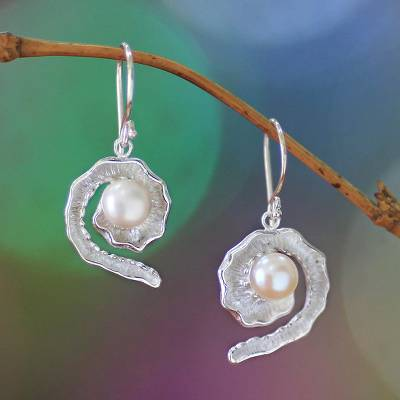 Pearl dangle earrings, 'White Passion Fruit' - Sterling Silver and Pearl Dangle Earrings
