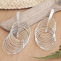 Sterling silver dangle earrings, 'Nest' - Sterling silver dangle earrings