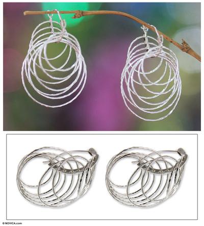 Sterling silver dangle earrings, 'Nine Links' - Unique Sterling Silver Dangle Earrings from Indonesia