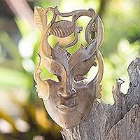 Wood mask, 'Fairy of the Forest' - Handmade Wood Mask