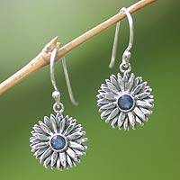 Sapphire earrings, 'September Aster' - Handcrafted Sapphire Birthstone Earrings