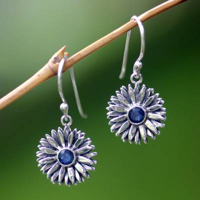 Sapphire earrings, 'September Aster' - Sterling Silver and Sapphire Birthstone Earrings