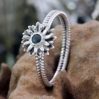Birthstone flowers sapphire ring, 'September Aster' - Floral Sterling Silver and Sapphire Ring