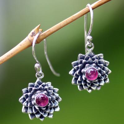 Ruby earrings, 'July Water Lily' - Sterling Silver and Ruby Dangle Earrings