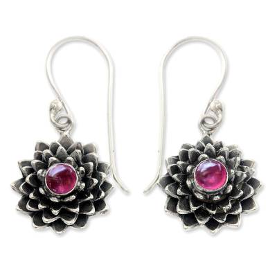 Sterling Silver and Ruby Dangle Earrings