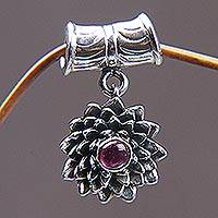 Ruby pendant, 'July Water Lily' - Ruby and .925 Sterling Silver Floral Pendant from Bali
