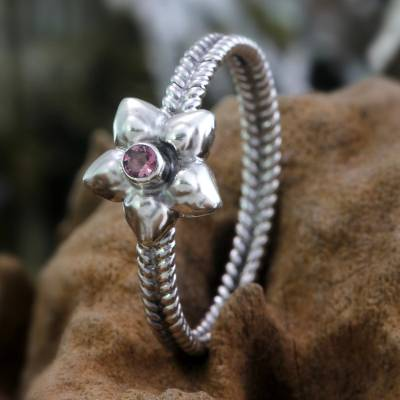Birthstone flowers pink tourmaline ring, 'October Marigold' - Pink Tourmaline and Sterling Silver Ring