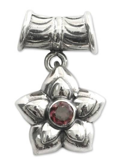 Pink Tourmaline and Sterling Silver Flower Pendant