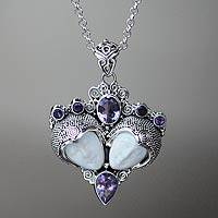 Amethyst pendant necklace, 'Royal Romance' - Amethyst and Sterling Silver Necklace from Bali