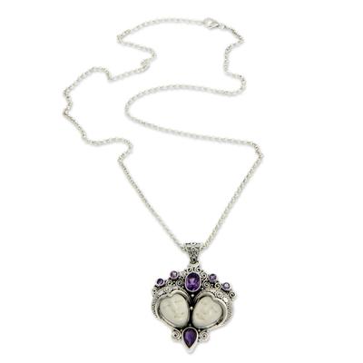 Amethyst pendant necklace, 'Royal Romance' - Sterling Silver and Amethyst Pendant Necklace
