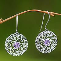 Amethyst dangle earrings, 'Filigree Starfish' - Amethyst dangle earrings