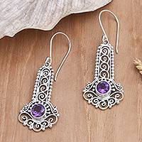 Amethyst dangle earrings, 'Key to the Castle' - Sterling Silver and Amethyst Earrings