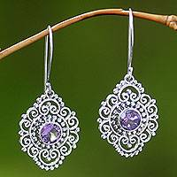 Amethyst dangle earrings, 'Royal Medallion' - Sterling Silver and Amethyst Dangle Earrings