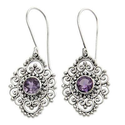 Amethyst dangle earrings, 'Royal Medallion' - Sterling Silver and Amethyst Dangle Earrings