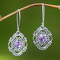 Amethyst floral earrings, 'Gianyar Muse' - Amethyst Dangle Earrings from Indonesia