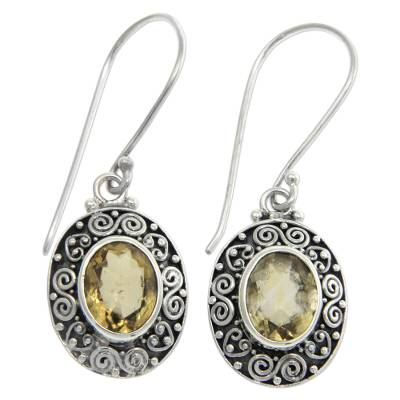Citrine dangle earrings, 'Lush Suns' - Artisan Crafted Citrine and Sterling Silver Dangle Earrings