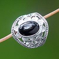 Onyx flower ring, 'Frangipani Mystery' - Sterling Silver and Onyx Cocktail Ring