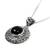 Onyx flower necklace, 'Frangipani Secrets' - Floral Sterling Silver and Onyx Pendant Necklace  (image 2e) thumbail