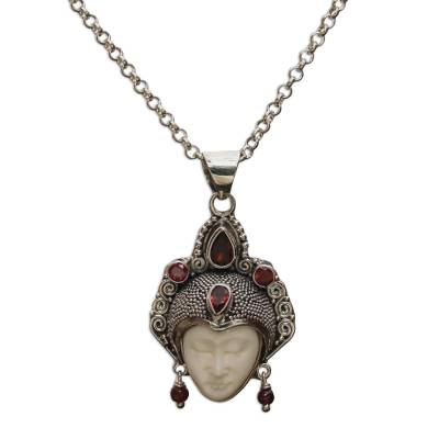Garnet pendant necklace, 'Queen of Sumatra' - Handmade Sterling Silver and Garnet Pendant Necklace