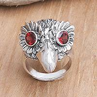 Men's garnet ring, 'Wise Owl' - Men's Sterling Silver and Garnet Ring