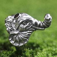 Men's garnet ring, 'Wise Ganesha' - Men's garnet ring