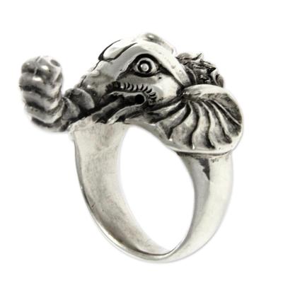 Men's garnet ring, 'Wise Ganesha' - Men's garnet ring