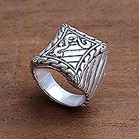 Men's sterling silver ring, 'Royal Fern' - Handcrafted Men's Sterling Silver Signet Ring