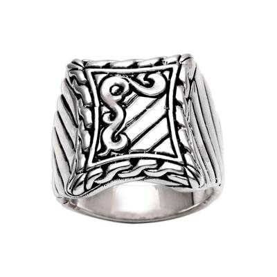 Men's sterling silver ring, 'Royal Fern' - Handcrafted Men's Sterling Silver Signet Ring