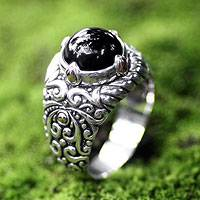 Men's gold accent onyx ring, 'Sorcerer' - Men's Onyx and Sterling Silver Dome Ring