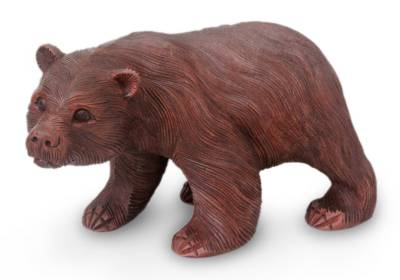 Wood sculpture, 'Curious Brown Bear' - Wood Sculpture from Indonesia