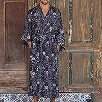 Men's rayon batik robe, 'Midnight Blue' - Men's Blue and White Batik Robe