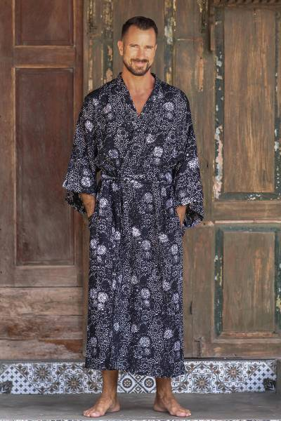 Men's rayon batik robe, 'Midnight Blue' - Men's Batik Patterned Robe