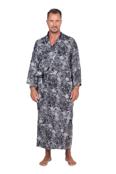 Men's rayon batik robe, 'Midnight Stars' - Men's Black Batik Patterned Robe