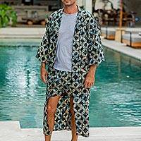 Men's cotton batik robe, 'Midnight Fireworks'