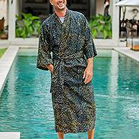 Men's cotton batik robe, 'Star Quest' - Men's Dark Blue and Yellow Batik Cotton Robe from Bali