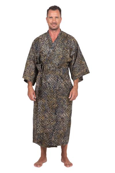 Men's cotton batik robe, 'Star Quest' - Men's Dark Blue and Yellow Batik Cotton Robe from Bali