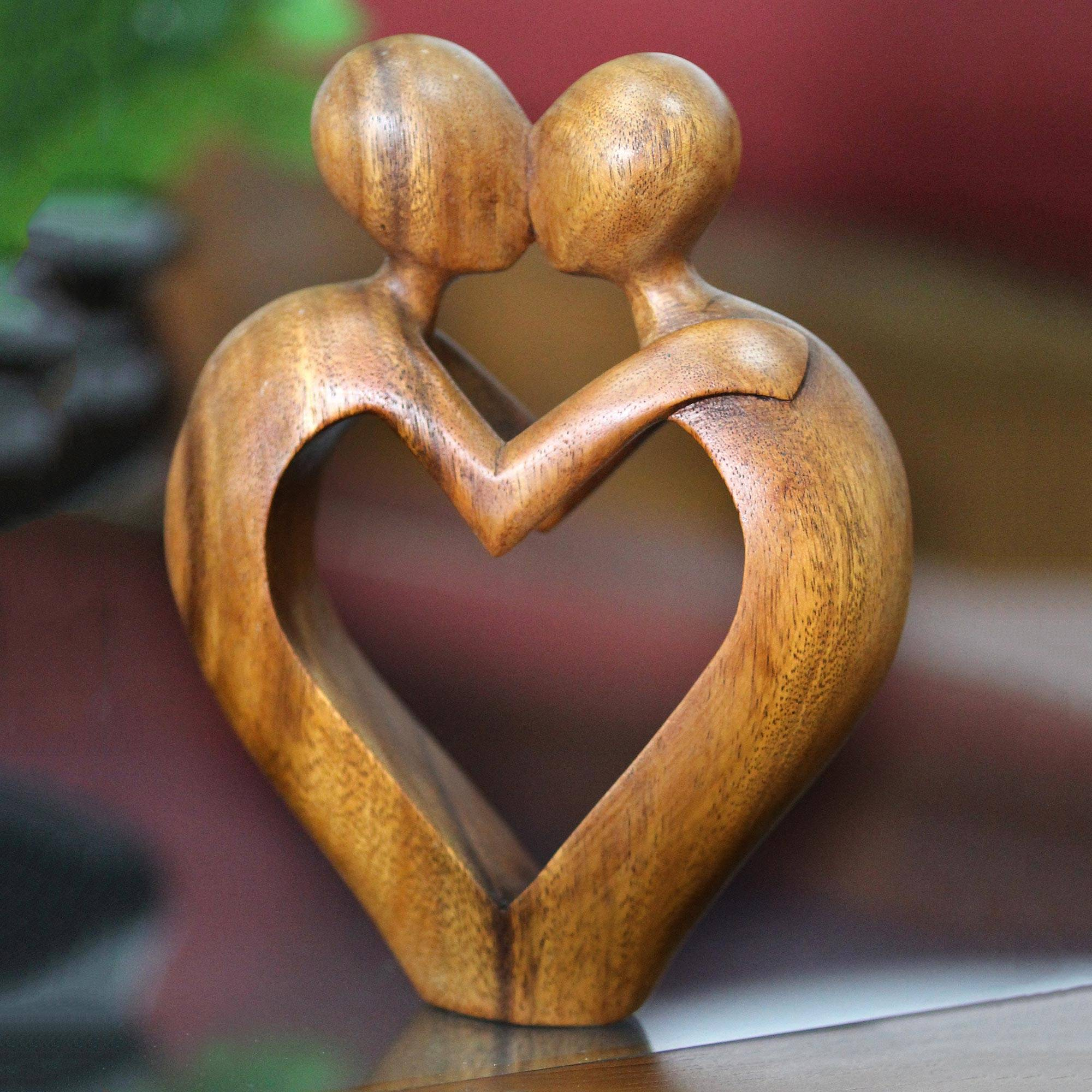 Romantic Heart Sculpture Sweet Love Novica
