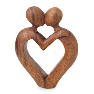 Wood sculpture, 'Sweet Love' - Romantic Heart Sculpture