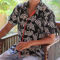 Men's cotton shirt, 'Tiger Scratch' - Men's cotton shirt