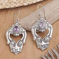 Amethyst  heart earrings, 'Bali Regal' - Amethyst  heart earrings