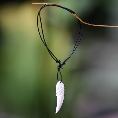 Men's leather and bone pendant necklace, 'Angel Wing'
