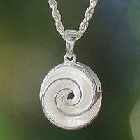 Sterling silver pendant necklace, 'Silver Nautilus'