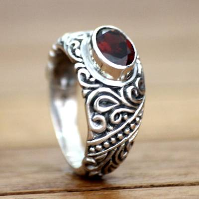 Garnet solitaire ring, 'Java Legacy' - Garnet solitaire ring